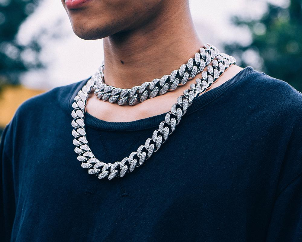 19mm White Gold Iced Cuban Chain - Jeupeter