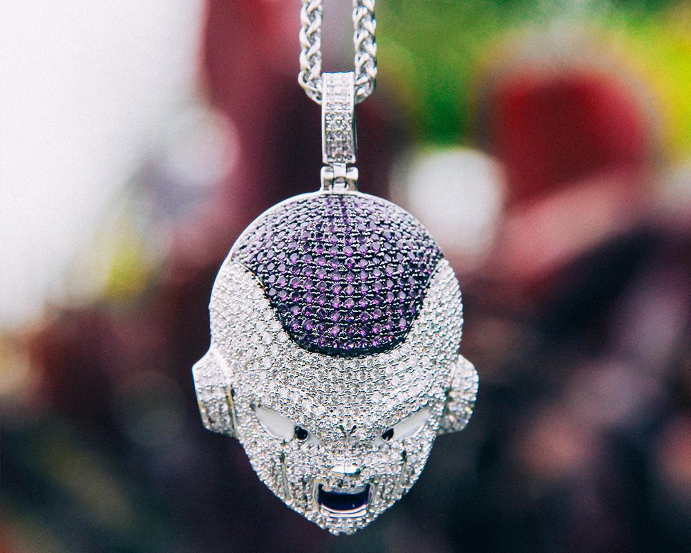 White Gold Iced Frieza Pendant - Jeupeter