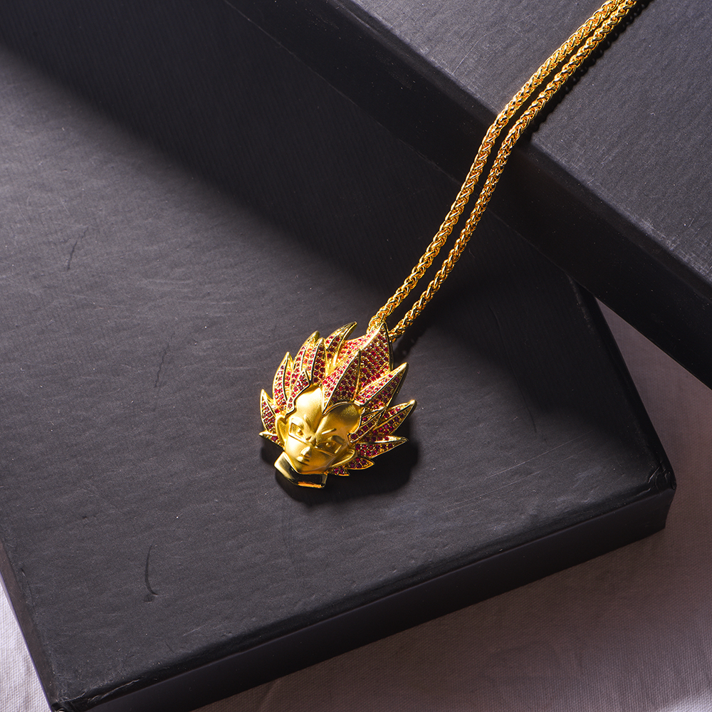 14K Gold Iced Super Saiyan God Vegeta Red Hair Pendant - Jeupeter