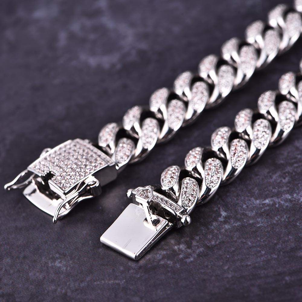 12mm White Gold Iced Cuban Bracelet - Jeupeter