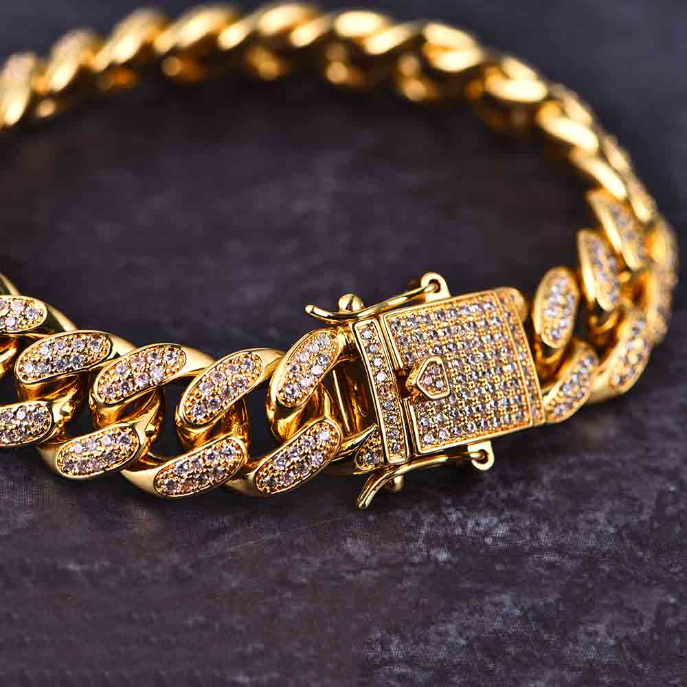 12mm 14K Gold Iced Cuban Bracelet - Jeupeter