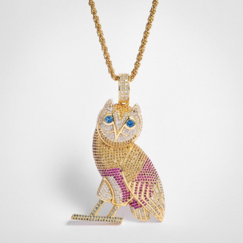 Fully Iced Out Colorful Owl Pendant - Jeupeter