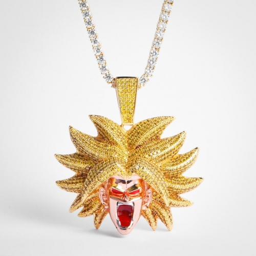 14K Gold Iced Broly Pendant - Jeupeter