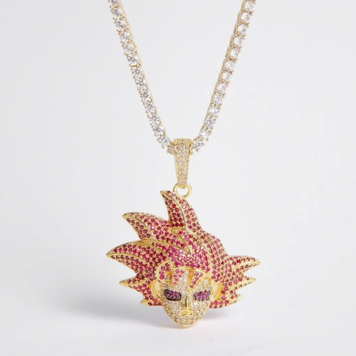 14K Gold Iced Red Hair Goku Pendant - Jeupeter