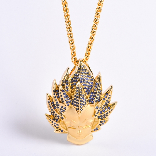 14K Gold Iced Super Saiyan God Vegeta Blue Hair Pendant - Jeupeter
