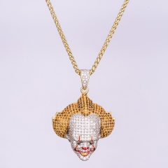 14K Gold Iced Out Clown Pendant - Jeupeter