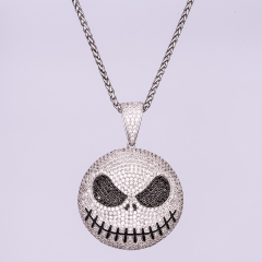 White Gold Iced Out Jack Skellington Pendant - Jeupeter