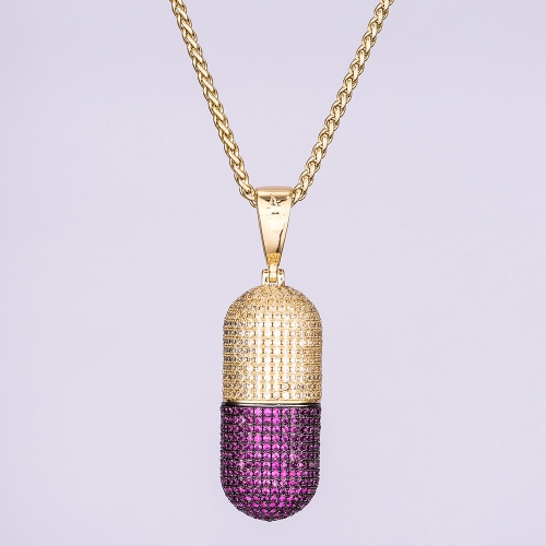 14K Gold Iced Out Detachable Pill Emoji Pendant - Jeupeter