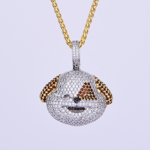 14K Gold Iced Dog Face Emoji - Jeupeter